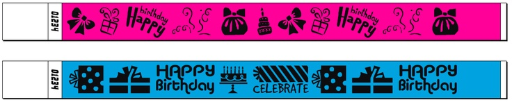 Brand new Birthday Wristband designs, hot off the press! These wristbands are made from Tyvek by AAC right here in Queensland. Great for your son or daughters birthday party (or your own!) to identify who is allowed access. Stop party crashers!
