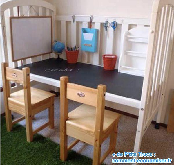 recycler lit bébé en bureau pour enfant