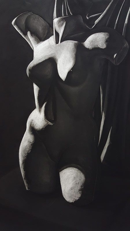 Torso, Charcoal on paper, 100 x 70 cm. Realistic charcoal drawing by Jolyn from Art Is http://artis.sg - #realism #charcoaldrawing