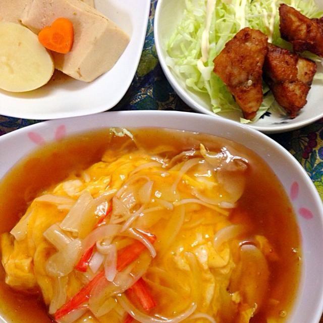 今日の、夕食 - 4件のもぐもぐ - なんちゃって、天津飯新ジャガと、高野豆腐の煮物鯖の竜田揚げ by hitomitomixCZ