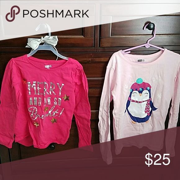 Two Shirts Bundle with a Head band These two shirts made by the same company are super adorable for the winter months and have a holiday feel that will make a little girl feel special and happy. Silver Bow scene on top of the hot pink shirt will add an extra glow to any outfit. crazy 8 Shirts & Tops Tees - Long Sleeve