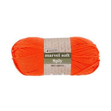 4 Seasons Marvel Soft 8 Ply Yarn Orange 100 g