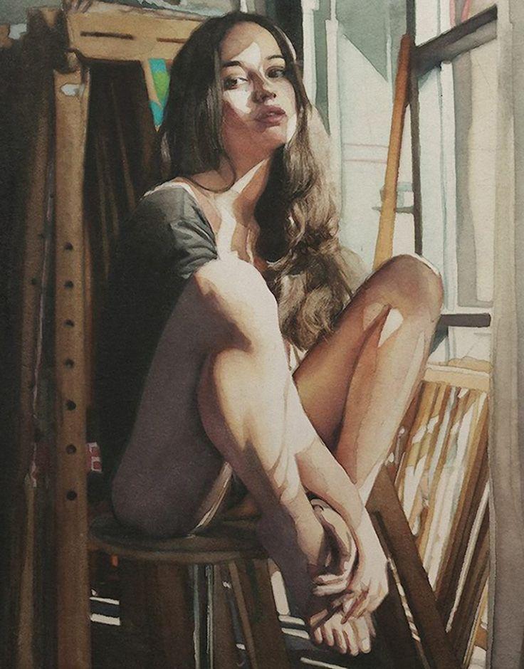 Marcos Beccari, watercolor {figurative art beautiful female seated woman portrait painting #loveart}