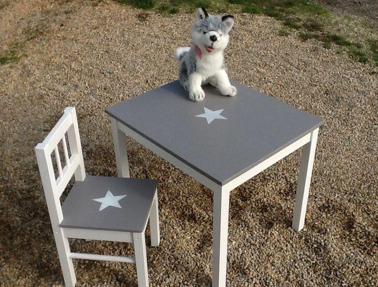 Ensemble table enfant et chaise en bois patin taupe et - Ensemble table et chaise enfant ...