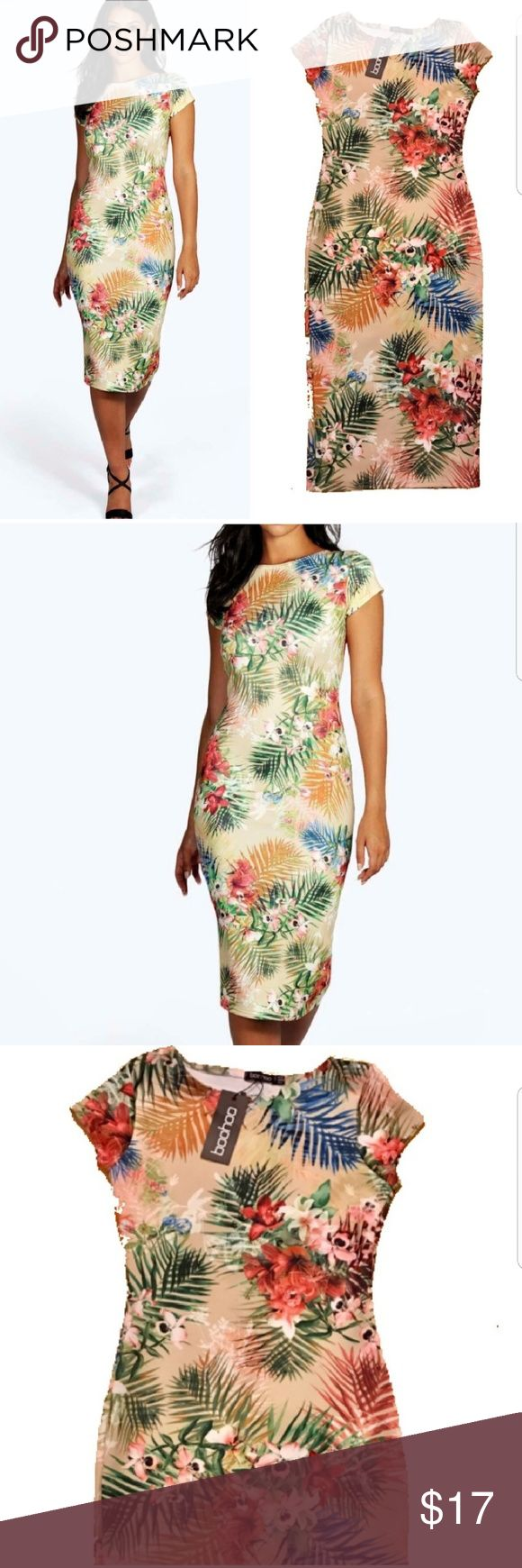 💋Boohoo Tropical Dress Sasha cap sleeve Midi dress UK 10 US 6 Not skimpy thin material - nice & structured to give you hold with contoured shape  New with tags 🏷 Price Firm🔒 Ships next day🚀 Take advantage of my bundle discount👌🎁 Boohoo Dresses Midi