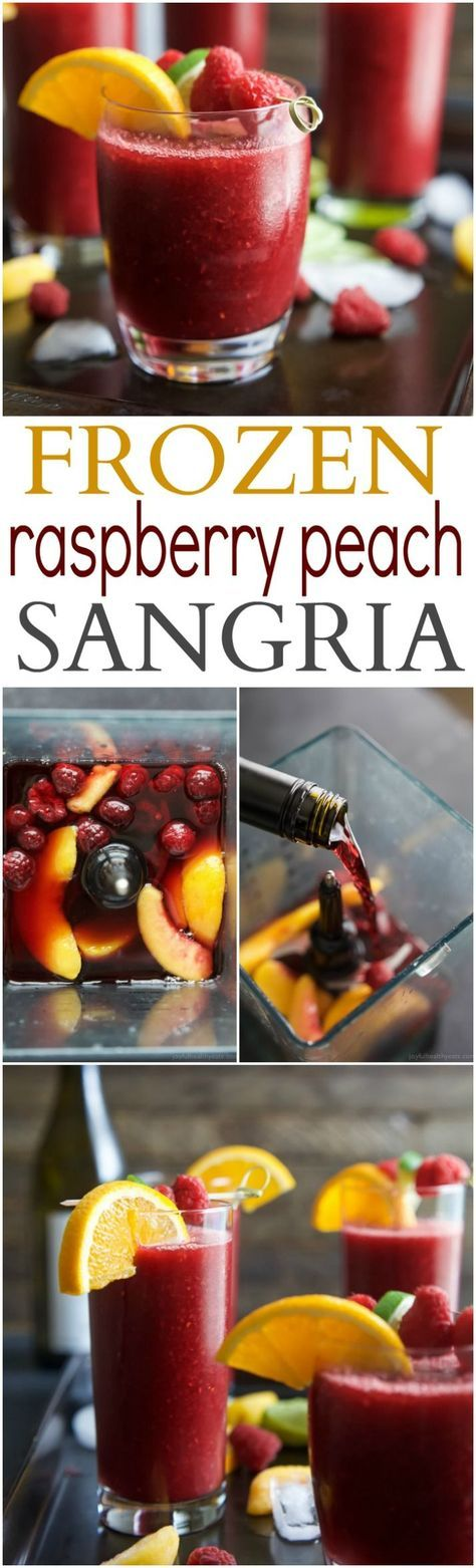 Frozen Raspberry Peach Sangria - a refreshing cocktail to cool you down on those hot summer nights and it only takes 5 minutes to make. A Sangria Recipe that will knock your socks off and it's only 131 calories!   http://joyfulhealthyeats.com