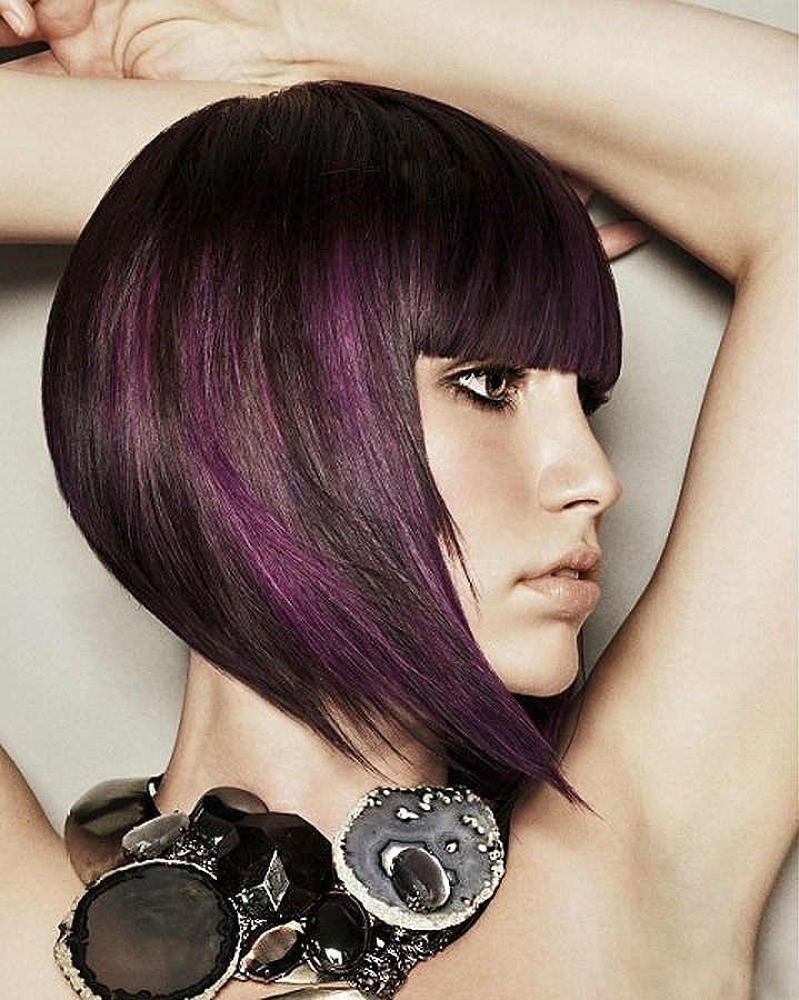 Black & Purple: Hairstyles, Bob, Hair Styles, Purple, Haircolor, Colors, Haircut, Hair Color