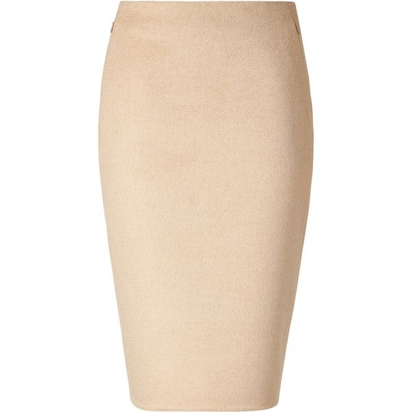 AKRIS Beige Pencil Skirt ($452) ❤ liked on Polyvore featuring skirts, bottoms, юбки, saias, beige skirt, knee length pencil skirt, pencil skirt, beige pencil skirt and akris