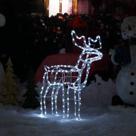 Home Reindeer Decorations White Led Lights Outdoor Christmas