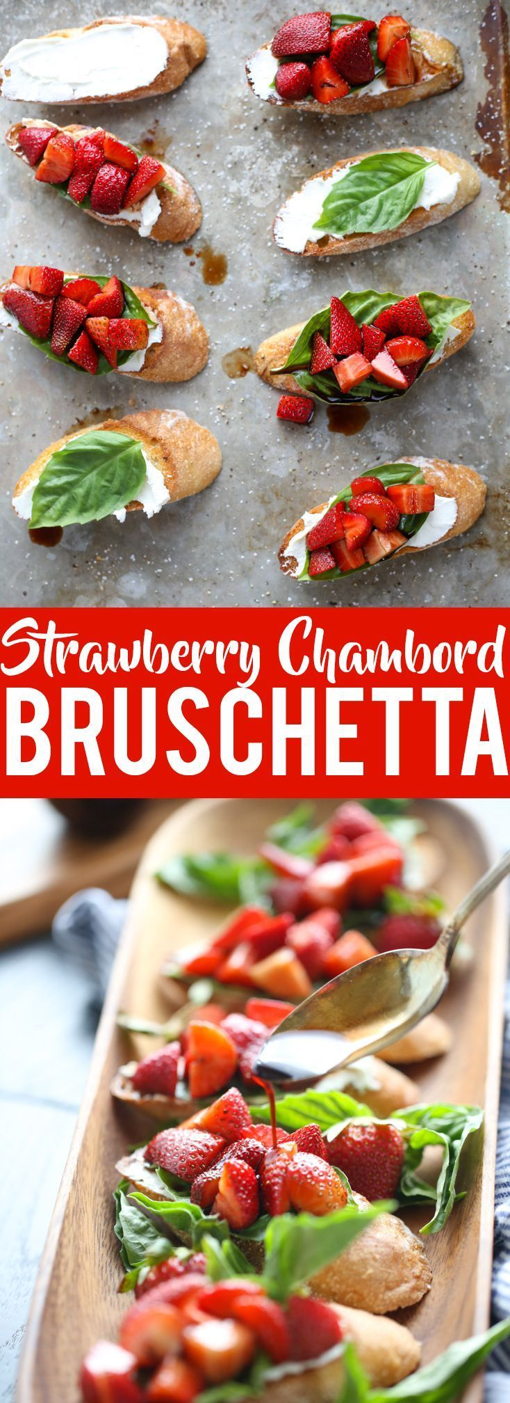 Strawberry Chambord Bruschetta ~ whipped cheese toasts are a gorgeous appetizer, perfect for a brunch, Valentine's Day, bridal shower or drinks on the patio!