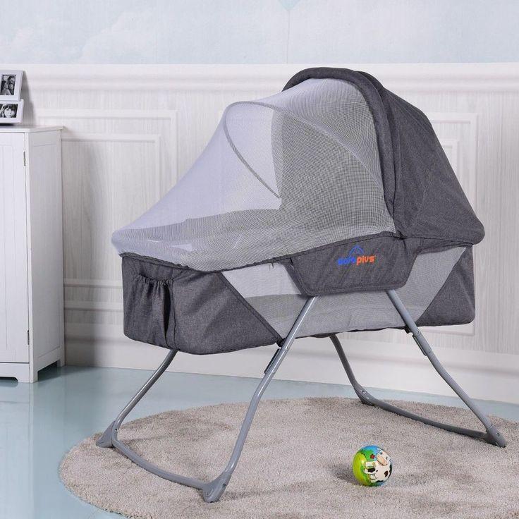 Travel Baby Bed Grey Folding Rocking Lightweight With Mosquito Net Infant Sleep #TravelBabyBed
