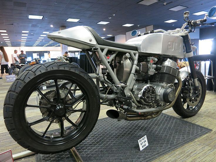 Baremetal custom motorcycle built by Gasser Customs with K&N pod filters