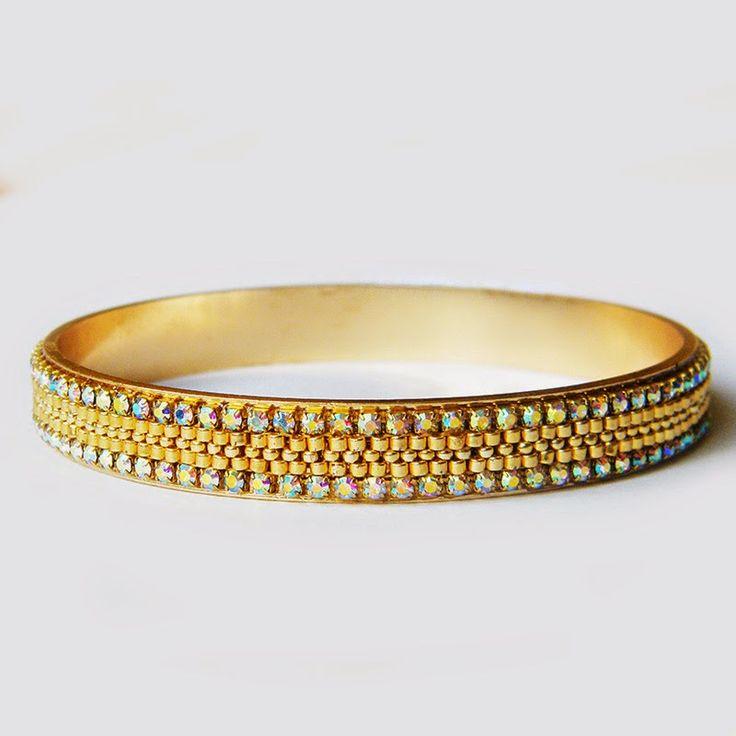 www.polandhandmade.pl  #polandhandmade #beading #beadwork #beadweaving #gold #goldbracelet #cuffbracelet #banglebracelet #peyotebracelet #zirconiatape #rhinestonechain