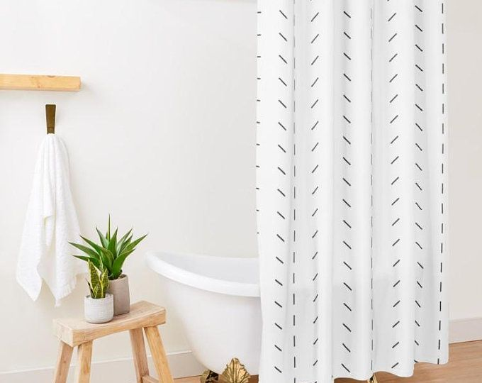 Modern Minimalist Black And White Boho Shower Curtain Perfect For Small Bathrooms In Your Home Or Apart Boho Shower Curtain Modern Shower Curtains Boho Shower