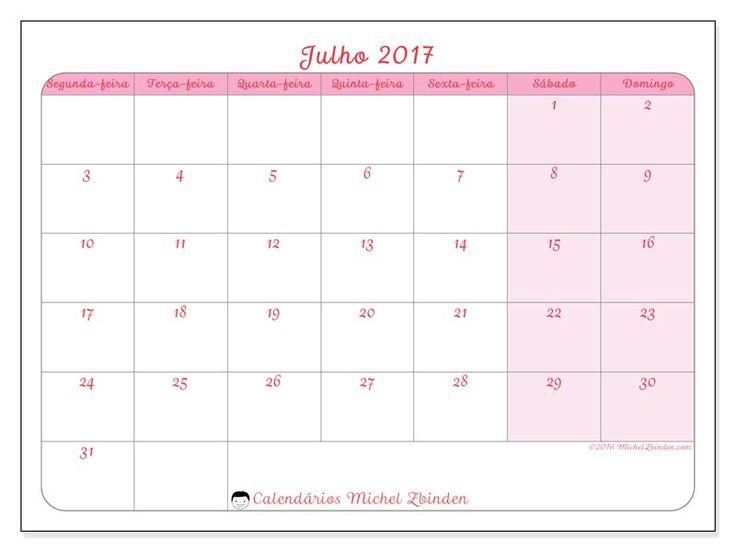 julho 2017para imprimir, livre. Calendário mensal : Generosa (Sf). A semana começa na segunda-feira