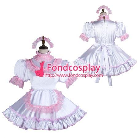 6efefc89a US$ 116.91 - Sissy Maid Satin Dress Lockable Uniform Cosplay Costume Tailor- Made[