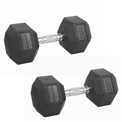 Confidence Fitness 20kg Rubber Hex Dumbbell Set - Image 1