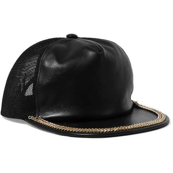 Moschino Mesh-paneled embellished leather cap ($190) ❤ liked on Polyvore featuring accessories, hats, black, strap hats, moschino hat, leather cap hat, moschino and studded hat