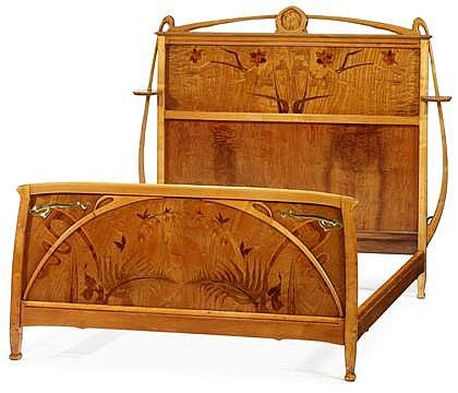 lon bnouville 1860 1903 bed carved fruitwood burr elm with - Fruitwood Bedroom Furniture