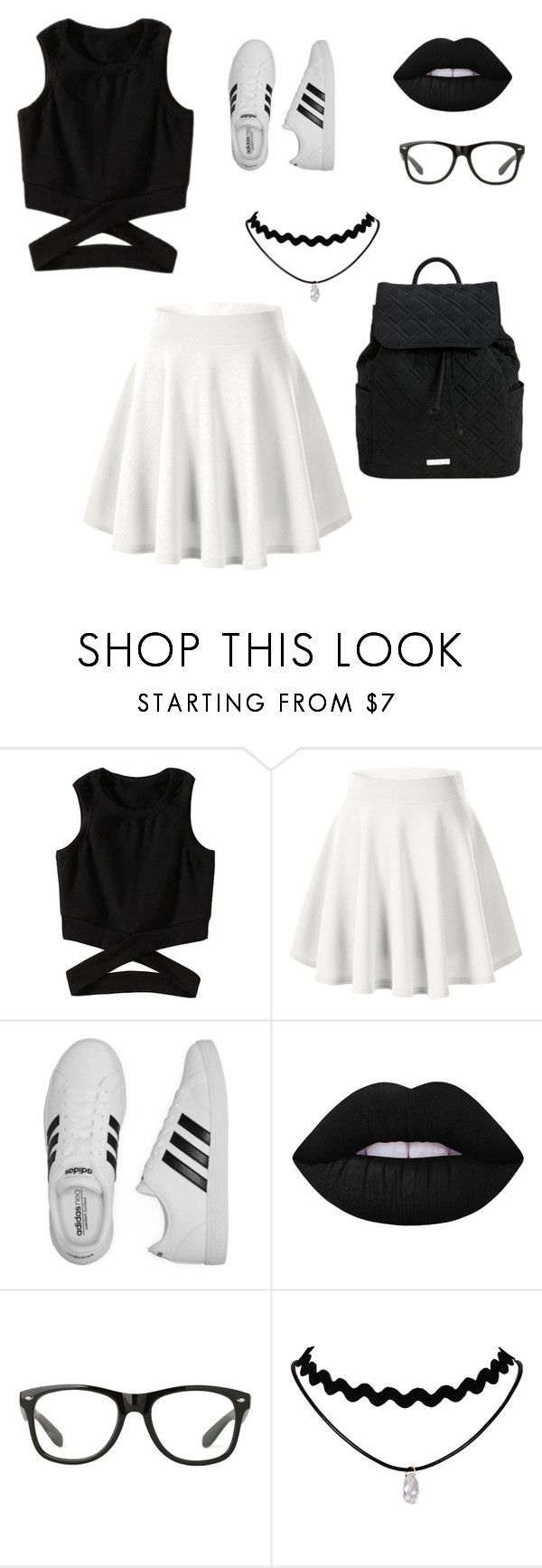 """Black and White"" by summersounds05 on Polyvore featuring adidas, Lime Crime and Vera Bradley"