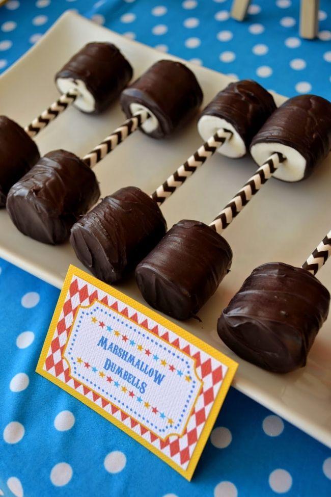Boys Circus Themed Birthday Party Marshmallow Pop Ideas