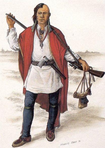 """Micmac (Premières nations) guerrier, vers 1740 - """"Ce guerrier micmac de circa 1740 porte un fusil de fabrication française et porte une chemise européenne de reconstruction par Francis Back.."""""""