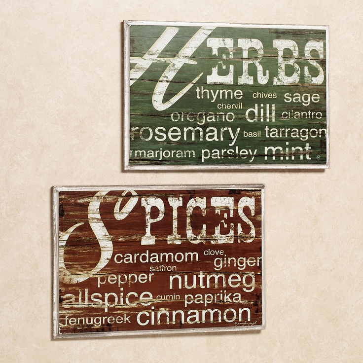 Kitchen Spices Herbs Wall Plaque Set Multi