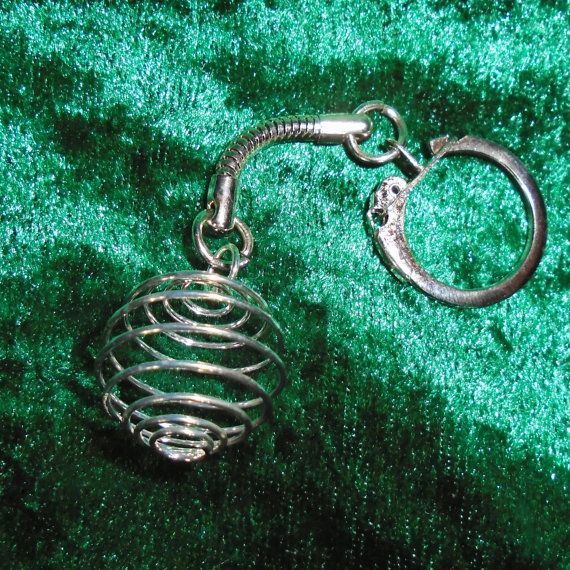Keyring  Crystal Cage Silver-Tone   Free UK P&P  by KasumiCrafts