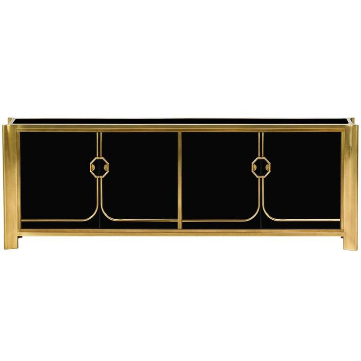 Black Lacquered and Brass Credenza by Bill Doezema for Mastercraft ca.1970's