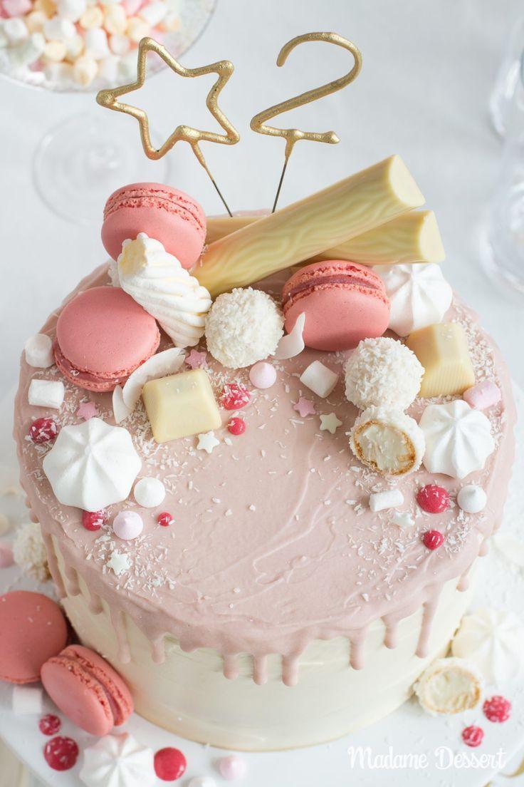 Candy Drip Cake – Geburtstagstorte mit Himbeeren & Kokosnuss   Madame Dessert   – Himbeeren Rezepte – die Lieblinge von herzelieb