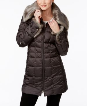 Laundry by Shelli Segal Faux-Fur-Collar Hooded Down Coat - Gray M