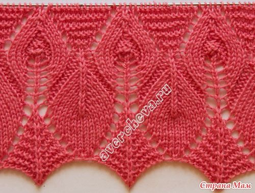 lace knitted edging for begining a sweater Ажурный край