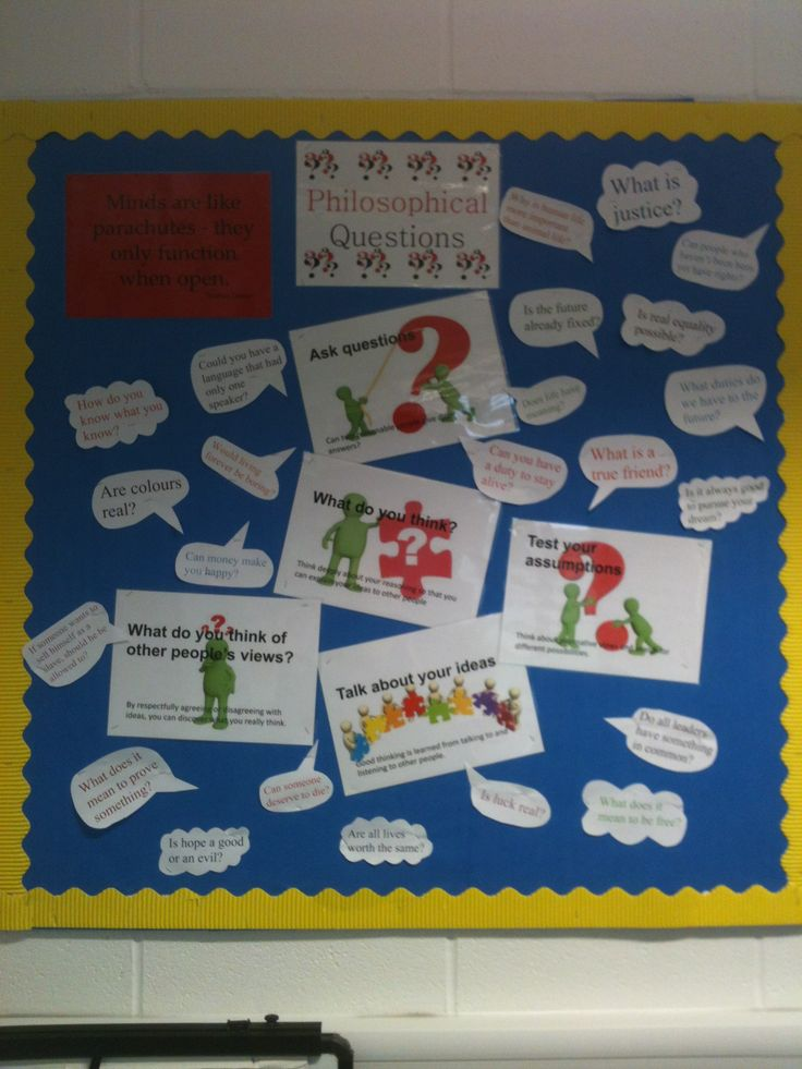 Philosophy for children (P4C) notice board with big ideas and example juicy questions and space to add more Qs on post-it notes.