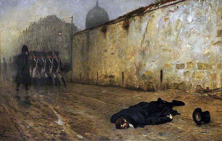 """""""The Execution of Marshal Ney"""" - Le sue ultime parole furono: """"Soldati, quando vi do l'ordine di far fuoco, mirate dritto al cuore. Attendete l'ordine, sarà l'ultimo. Protesto per la mia condanna. Ho combattuto centinaia di battaglie per la Francia, ma non una contro di essa"""". Detto questo ordinò di far fuoco. Undici pallottole gli trafissero il petto, un soldato mirò in alto e sparò sul muro."""