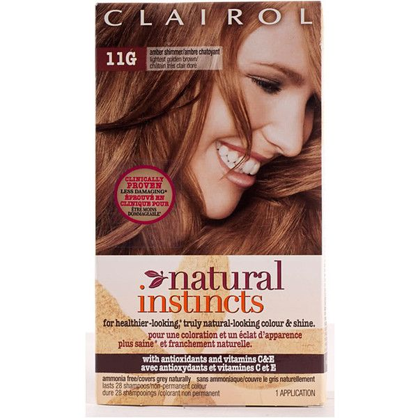Clairol Natural Instincts #11G Amber Shimmer Lightest Golden Brown... ($29) ❤ liked on Polyvore featuring beauty products, haircare, hair color and brown