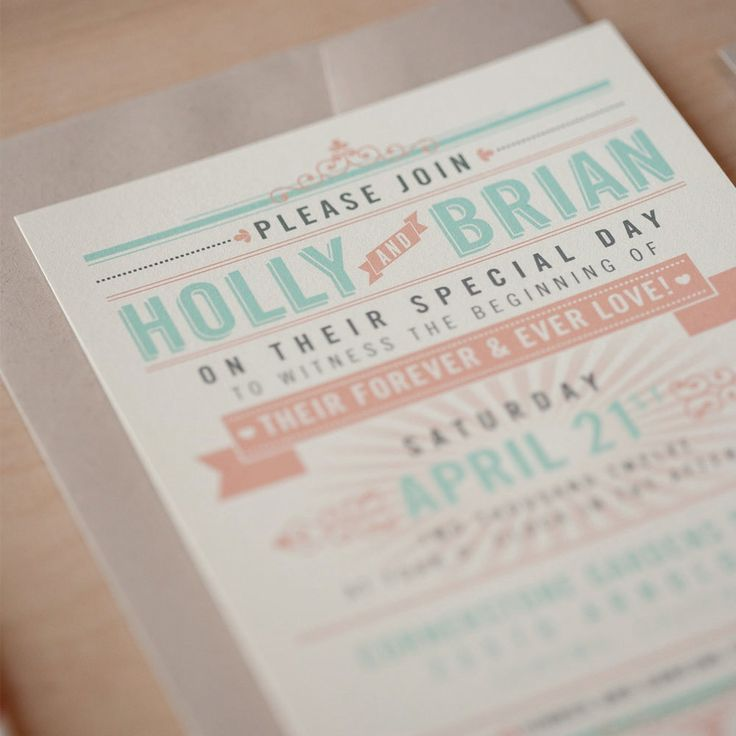 Vintage Mint And Orange Wedding Invitations