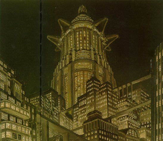 Metropolis 1927 - Film Archive - Erich Kettelhut Drawings 1925-6. Tower of Babel, oil on cardboard, 43.6 x 55.2 cm. (c) Filmmuseum Berlin - Deutsche Kinemathek.