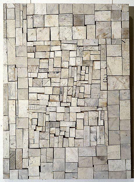Rosalie Gascoigne  White Out, 1994  sawn wood on craftboard  82 × 59cm