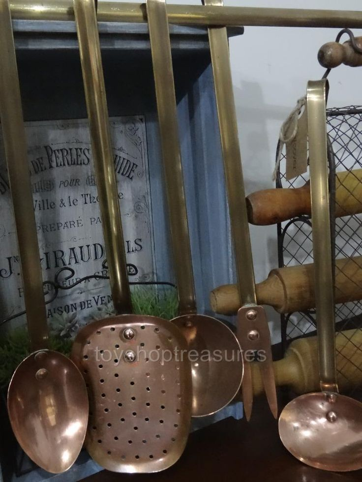 6 pcs Set of Hanging Copper and brass French Vintage Utensils with Hanger