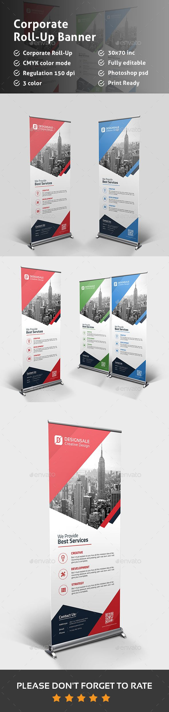 Corporate Rollup Banner — Photoshop PSD #professional #rollup • Available he...