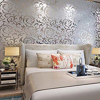 Hanmero High-grade Flocking Victorian Damask/embossed Wallpaper Rolls (Silver & Gray): Amazon.co.uk: Kitchen & Home