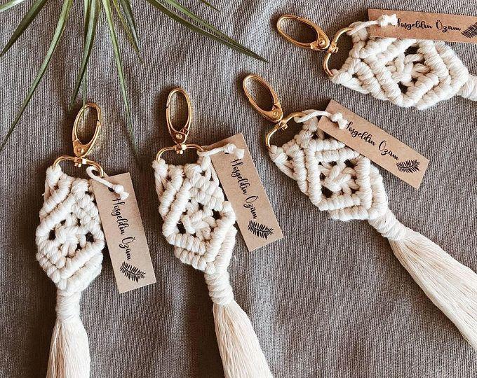2 Bead Macrame Keychains Macrame Wedding Gifts Boho Bridesmaid Gifts Boho Keychains Boho Wedding Gifts