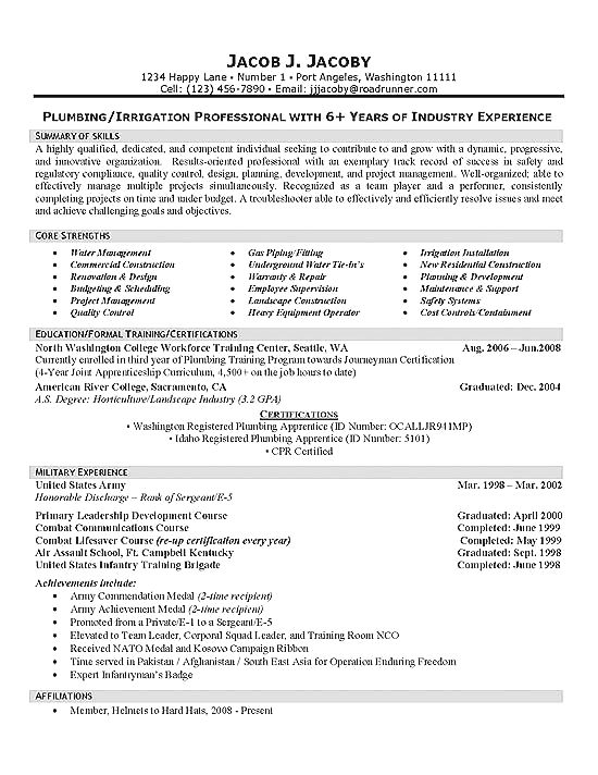 this page shows an example of a resume for a plumbing