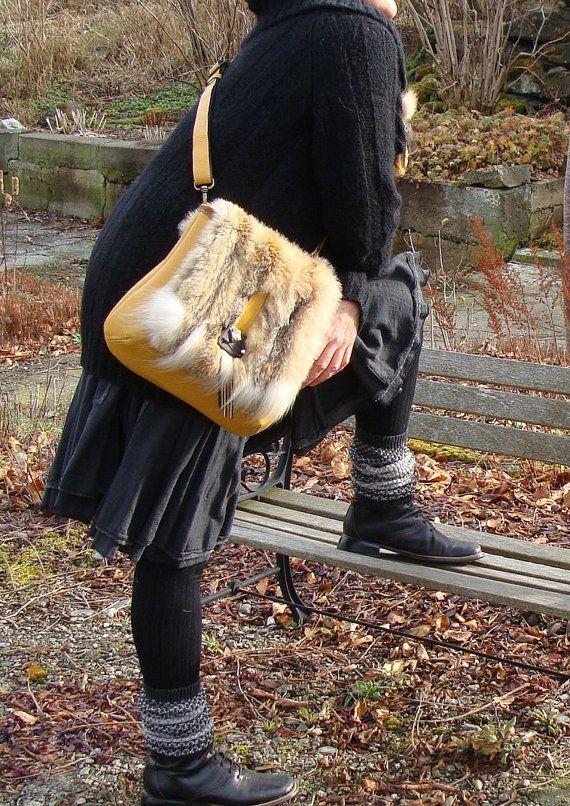 Sac à main en fourrure recyclée et cuir, fait main, Recycled fur handbag women, handmade,