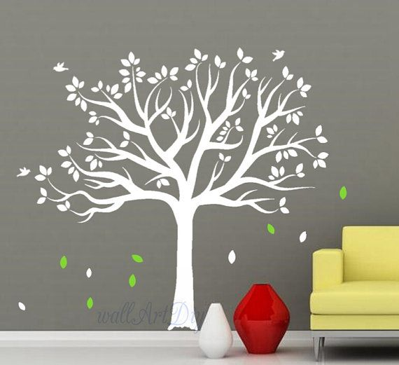 Cute Tree wall decal White tree wall decals Tree and by WallArtDIY