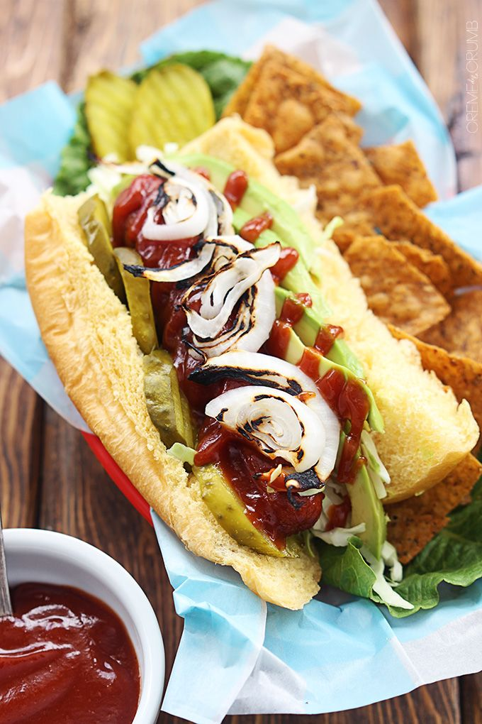 BBQ Hot Dogs with Avocado & Grilled Onions | #food #bbq #hotdog