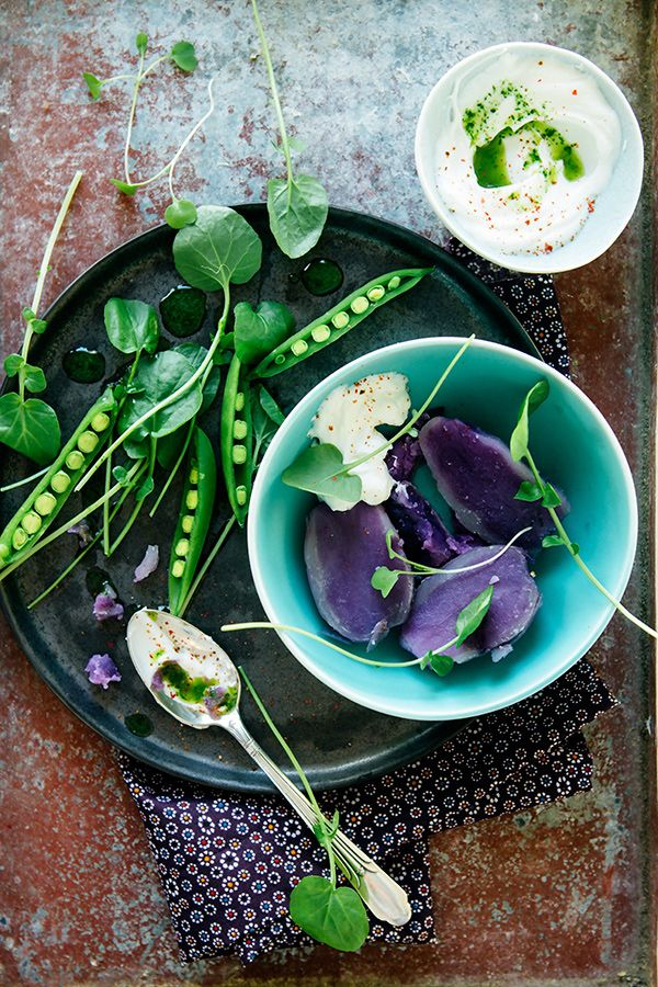 Food styling - purple potato and green peas