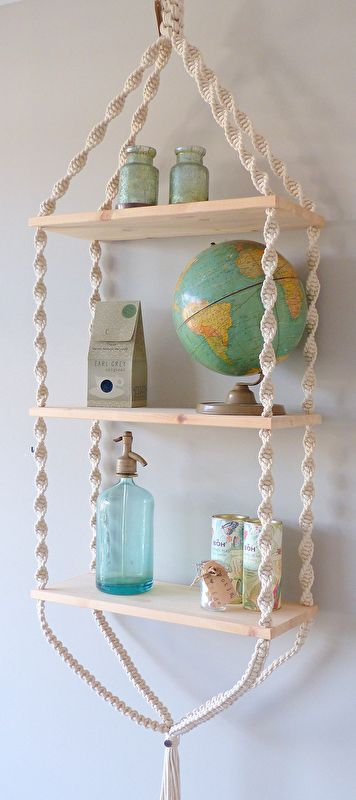 Macrame  rope 3 shelf craft inspiration. This would be a creative way to spend a Sunday afternoon, creating storage with style, Cute for a teens bedroom, child room or any room really #diy #inspo #creative