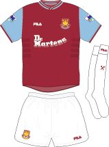 West Ham home kit for 2001-03.