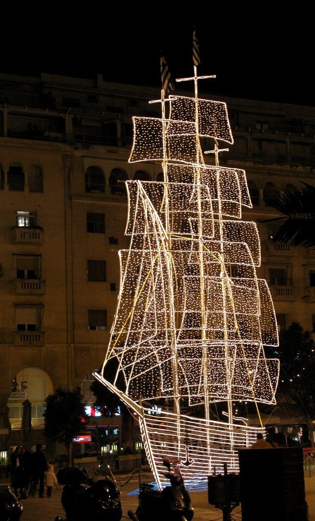 Christmas Lighted Boat.. Aristotle Square, Thessaloniki, Greece